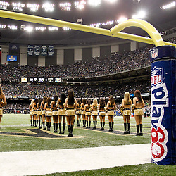 November 28, 2011; New Orleans, LA, USA; New Orleans Saints Saintsations on the field prior to kickoff of a game against the New York Giants at the Mercedes-Benz Superdome. Mandatory Credit: Derick E. Hingle-US PRESSWIRE