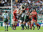 Twickenham, GREAT BRITAIN, Exiles' Bob CASEY win's the line out ball, during the Heineken, Semi Final, Cup Rugby Match,  London Irish vs Toulouse, at the Twickenham Stadium on Sat 26.04.2008 [Photo, Peter Spurrier/Intersport-images]