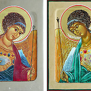Iconography Icons of the Archangel Michael and the Archangel Gabriel. Painted on wood with egg tempera pigments, and gold leaf.