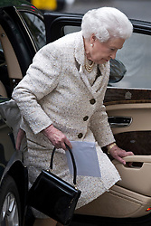 © London News Pictures. 10/06/2013. London, UK. HRH Queen Elizabeth II, carrying a card, arriving at The Clinic on Harley Street, London to visit Prince Philip, Duke of Edinburgh, who is currently recovering after undergoing a planned operation to cure abdominal pains. Photo credit: Ben Cawthra/LNP