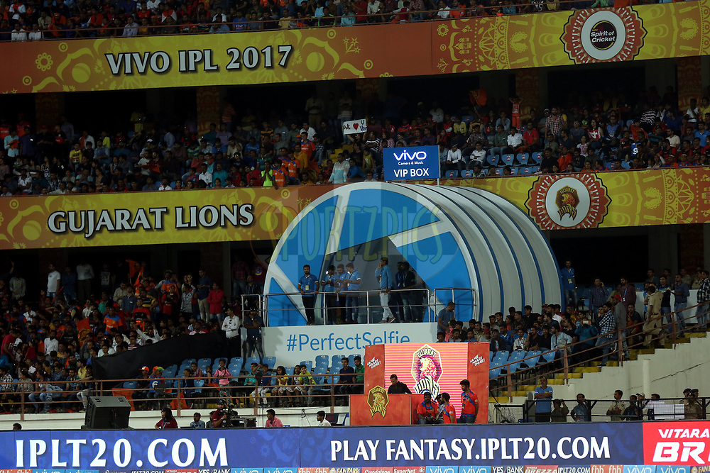 VIVO VIP BOX during match 20 of the Vivo 2017 Indian Premier League between the Gujarat Lions and the Royal Challengers Bangalore  held at the Saurashtra Cricket Association Stadium in Rajkot, India on the 18th April 2017<br /> <br /> Photo by Sandeep Shetty - Sportzpics - IPL