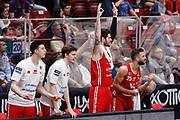Esultanza panchina Pesaro, EA7 EMPORIO ARMANI OLIMPIA MILANO vs VL PESARO, 28^ Campionato Lega Basket Serie A 2017/2018, Mediolanum Forum Assago (MI) 29 aprile 2018 - FOTO: Bertani/Ciamillo