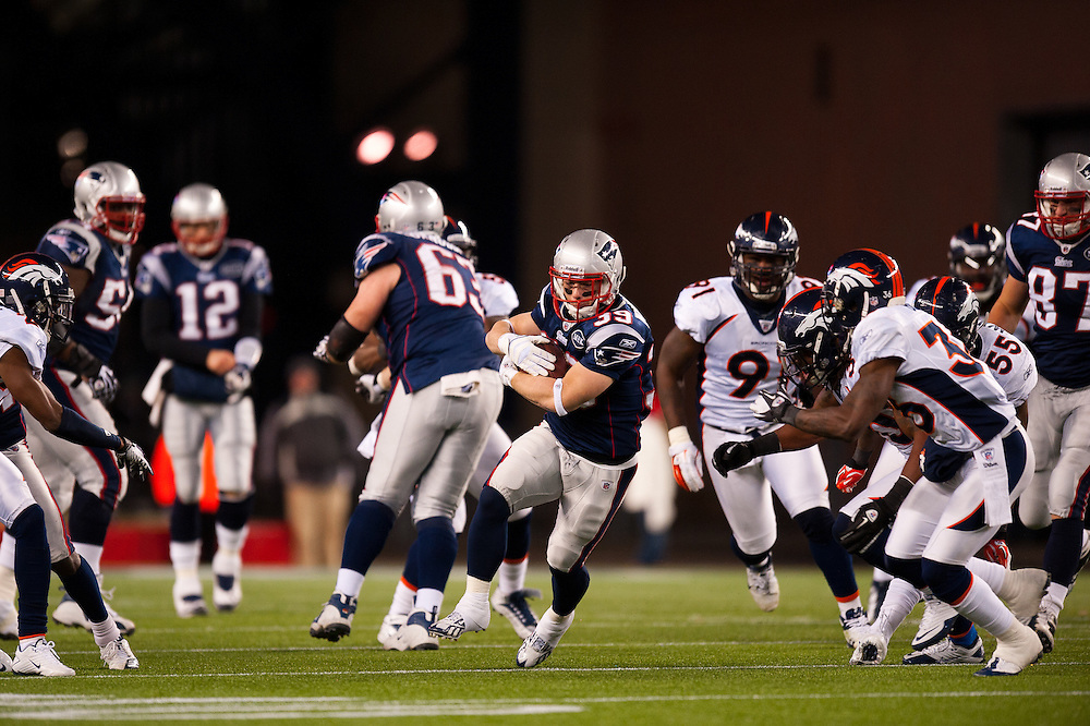 FOXBORO, MA - JANUARY 14: Running back Danny Woodhead #39 of the New England Patriots runs the ball during the AFC Divisional Playoff Game against the Denver Broncos at Gillette Stadium on January 14, 2012 in Foxboro, Massachusetts. The Patriots defeated the Broncos 45 to 10. (Photo by Rob Tringali) *** Local Caption *** Danny Woodhead