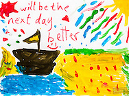 """Will be the next day better."" A drawing by a Syrian refugee child of her idea of a good future."