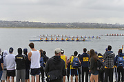 San Diego, California. USA. General Views, Crew Racing, Spectators watch from the Beach. 2013 Crew Classic Regatta, Mission Bay.  08:15:58.  Saturday  06/04/2013   [Mandatory Credit. Peter Spurrier/Intersport Images]  ..