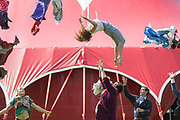 UNITED KINGDOM, London: 3 May 2018 Britains leading circus company Lost in Translation performs in front of their pop up circus tent in Shillington Park in Wandsworth. The performance marks the start of the Wandsworth Arts Fringe and the opening of Battersea Circus Gardens which runs from May 4 - May 20 2018. Rick Findler / Story Picture Agency