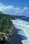 volcanic black sand beach on windward or east side of Saint Vincent,  St. Vincent & the Grenadines, West Indies ( Eastern Caribbean Sea )