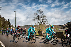 Riders of Astana Pro Team in the peloton at La Roche-en-Ardenne with 178 km to go, the 102th edition of Li&egrave;ge-Bastogne-Li&egrave;ge race running 253 km from Li&egrave;ge to Li&egrave;ge, Belgium, 24 April 2016.<br /> Photo by Pim Nijland / PelotonPhotos.com<br /> <br /> All photos usage must carry mandatory copyright credit (&copy; Peloton Photos | Pim Nijland)