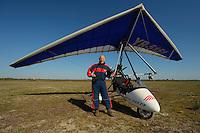 Staffan Widstrand in front of the ultralight trike/deltawing, Danube delta rewilding area, Romania