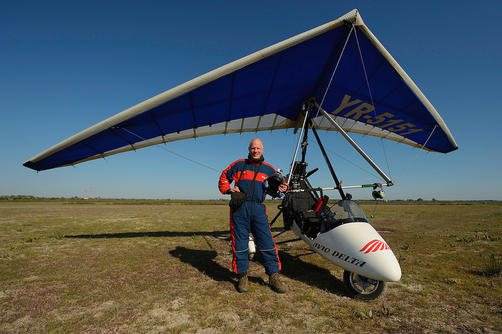 Staffan Widstrand in front of the ultralight trike/deltawing, Danube delta rewilding area, Romania