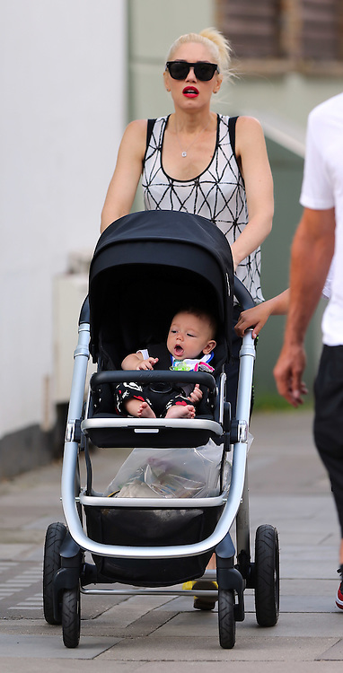 Gwen Stefani and Gavin Rossdale and their three boys Kingston Rossdale, Zuma Nesta Rock Rossdale and Apollo Bowie Flynn Rossdale stroll in Camden Lock, London, UK. 23/07/2014<br /> BYLINE MUST READ : GOTCHAIMAGES.COM<br />