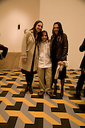 LUCIA MUNOZ, DIEGO MUNOZ AND THEIR MOTHER CRISTINA INGLESIAS, Reception, private view and dinner.; Juan Munoz- A Retrospective. Tate Modern. -DO NOT ARCHIVE-© Copyright Photograph by Dafydd Jones. 248 Clapham Rd. London SW9 0PZ. Tel 0207 820 0771. www.dafjones.com.