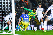 West Bromwich Albion forward Matheus Pereira (12) forces a save from Leeds United goalkeeper Francisco Casilla (13) during the EFL Sky Bet Championship match between Leeds United and West Bromwich Albion at Elland Road, Leeds, England on 1 October 2019.