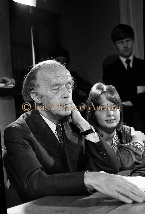 Erskine Childers Press Conference..1973..31.05.1973..05.31.1973..31st May 1973..At a press conference at Fianna Fail headquarters, Mr Erskine Childers, was confirmed as the winner of the presidential campaign. He won by a margin of 52% to 48% beating the favourite Tom O'Higgins,Fine Gael..Father and Daughter pictured at his press conference, Erskine and Nessa Childers at the press conference.