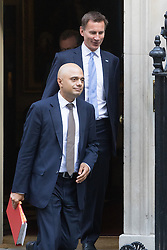 Downing Street, London, September 13th 2016. Communities and Local Government Secretary Sajid Javid (left) and Health Secretary Jeremy Hunt leave the weekly cabinet meeting at Downing Street.