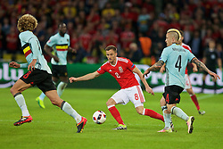 LILLE, FRANCE - Friday, July 1, 2016: Wales' Andy King in action against Belgium's Radja Nainggolan during the UEFA Euro 2016 Championship Quarter-Final match at the Stade Pierre Mauroy. (Pic by Paul Greenwood/Propaganda)