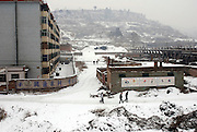 Most of the people living in these building are coal industry workers. Shanxi is China's largest coal suppliers and thousands of workers are living in buildings built just near coal power plants or mines. Mining industry is one of the most dangerous for workers. Each year miners die of accidents and lack of security.