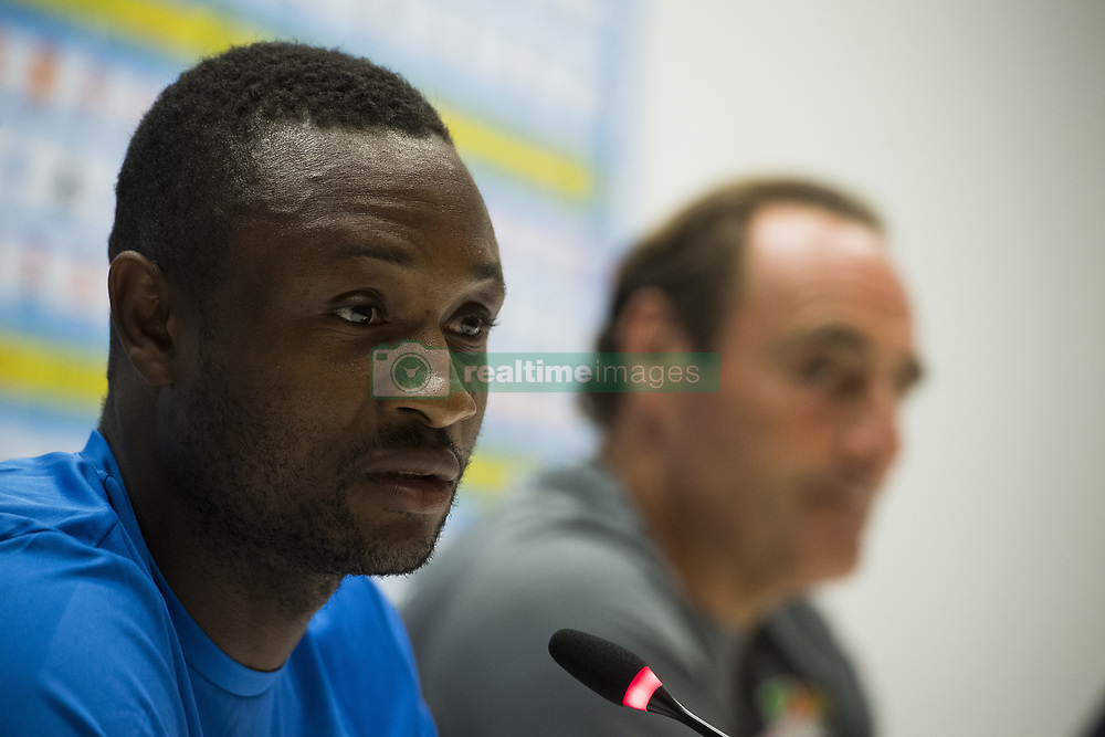 July 26, 2017 - Marseille, FRANCE - Oostende's Sebastien Siani and Oostende's head coach Yves Vanderhaeghe pictured during a press conference of Belgian first division soccer team KV Oostende ahead of the first leg of the third qualifying round for the UEFA Europa League competition, Wednesday 26 July 2017 in Marseille. KV Oostende plays against Olympic Marseille on Thursday. BELGA PHOTO LAURIE DIEFFEMBACQ (Credit Image: © Laurie Dieffembacq/Belga via ZUMA Press)