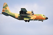 Israeli Air force Hercules C-130 transport plane in flight.