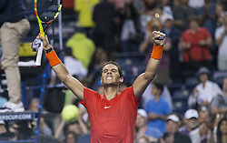 TORONTO, Aug. 12, 2018  Rafael Nadal of Spain celebrates victory after the semifinal match of men's singles against Karen Khachanov of Russia at the 2018 Rogers Cup in Toronto, Canada, Aug. 11, 2018. Rafael Nadal of Spain won 2-0. (Credit Image: © Zhz/Xinhua via ZUMA Wire)