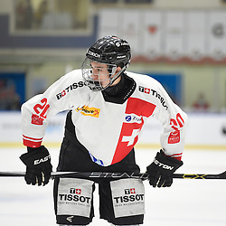 WHITBY, - Dec 13, 2015 -  WJAC Game 2- Team Switzerland vs Team Canada East at the 2015 World Junior A Challenge at the Iroquois Park Recreation Complex, ON. Tobias Geisser #20 of Team Switzerland during the second period.<br /> (Photo: Andy Corneau / OJHL Images)
