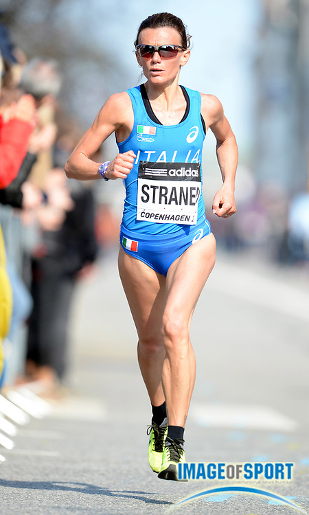 Mar 29, 2014; Copenhagen, Denmark; Valeria Straneo (ITA) places eighth in 1:08:55 in the IAAF/AL-Bank World Half Marathon Championship. Photo by Jiro Mochizuki