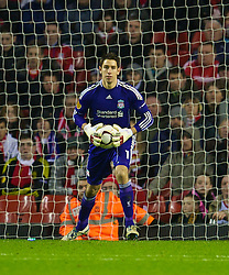 LIVERPOOL, ENGLAND - Wednesday, December 15, 2010: Liverpool's goalkeeper Brad Jones in action against FC Utrecht during the UEFA Europa League Group K match at Anfield. (Photo by: David Rawcliffe/Propaganda)