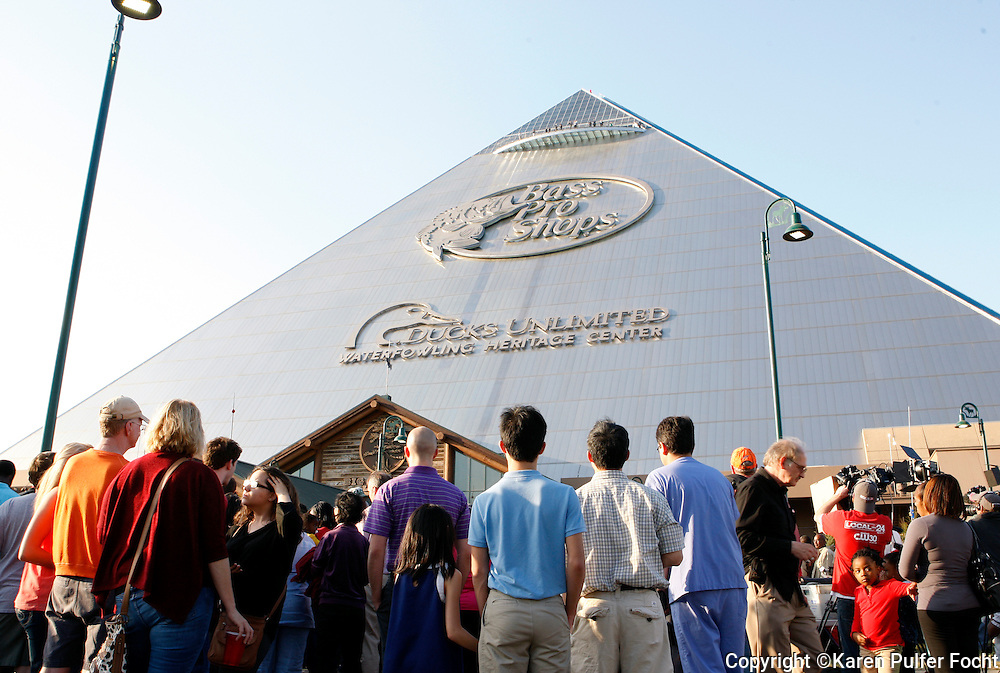 Crowds gather outside the Pyramid during the grand opening of Bass Pro Shop Wednesday evening. The new Bass Pro Shops is set next to the Mississippi River in Memphis, Tenn. The megastore, which opened April 29.  It is built inside a Pyramid built originally as an arena.  The building is about 535,000-square foot and now is home to a hotel, restaurants, observation deck, mega store, shooting range and bowling alley.
