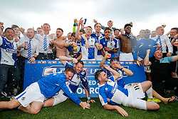 SKY BET PICTURES – FREE TO USE Bristol Rovers players celebrate after they win the match in injury time to secure 3rd place in League 2, back to back promotions and a place in Sky Bet League 1 for 2016/17 - Mandatory byline: Rogan Thomson/JMP - 08/03/2016 - FOOTBALL - Memorial Stadium - Bristol, England - Bristol Rovers v Dagenham & Redbridge - Sky Bet League 2.