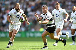 Benjamin Kayser of the Barbarians passes the ball - Mandatory byline: Patrick Khachfe/JMP - 07966 386802 - 27/05/2018 - RUGBY UNION - Twickenham Stadium - London, England - England v Barbarians - Quilter Cup