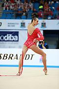 Rizatdinova Anna during final at ribbon in Pesaro World Cup at Adriatic Arena on April 12, 2015. Anna was born July 16, 1993 in Simferopol, she is a Ukrainian individual rhythmic gymnast.