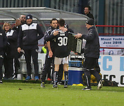 Dundee manager Paul Hartley hugs man for the match Cammy Kerr after the life long Dundee fan had been substituted to a standing ovation - Dundee v Dundee United, Ladbrokes Premiership at Dens Park<br /> <br />  - &copy; David Young - www.davidyoungphoto.co.uk - email: davidyoungphoto@gmail.com