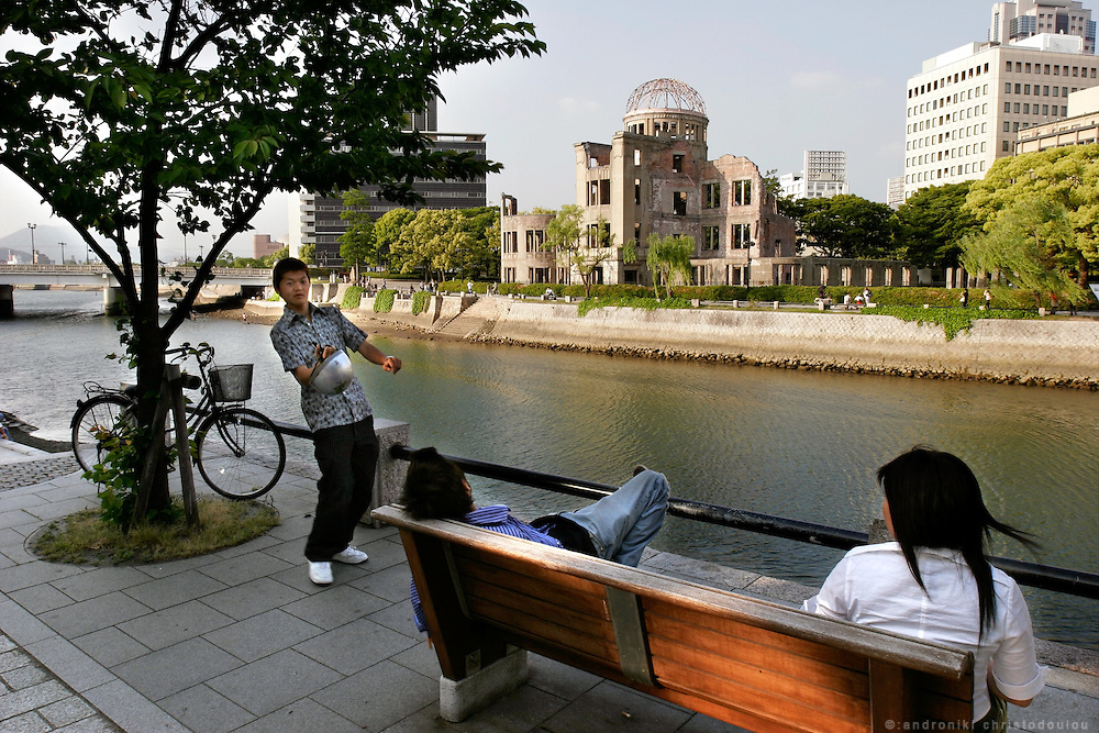 Hiroshima City. The city today is very lively and away from the Peace Memorial Park, it is difficult to believe that 60 years ago it was completely distroyed.