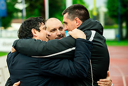 Sinisa Brkic, director of Triglav (C), Beno Fekonja, president and Dejan Doncic, head coach of Triglav celebrate after the football match between NK Triglav Kranj and NK Domzale in 35th Round of Prva liga Telekom Slovenije 2018/19, on May 22nd, 2019, in Sports park Kranj, Slovenia. Photo by Vid Ponikvar / Sportida
