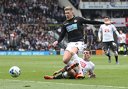 Craig Bryson of Derby County tackles Josh Vela of Bolton Wanderers (L) - Mandatory by-line: Jack Phillips/JMP - 09/04/2016 - FOOTBALL - iPro Stadium - Derby, England - Derby County v Bolton Wanderers - Sky Bet Championship