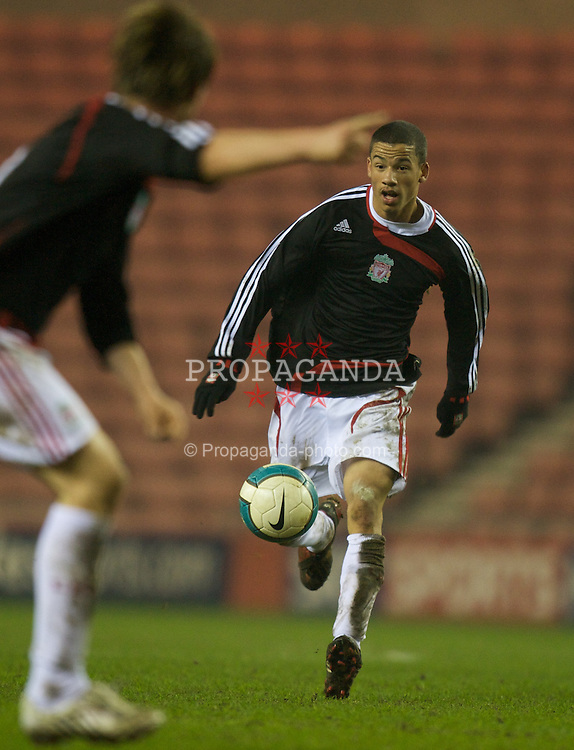SUNDERLAND, ENGLAND - Wednesday, February 13, 2008: Liverpool's Nathan Eccleston in action against Sunderland during the FA Youth Cup 5th Round match at the Stadium of Light. (Photo by David Rawcliffe/Propaganda)