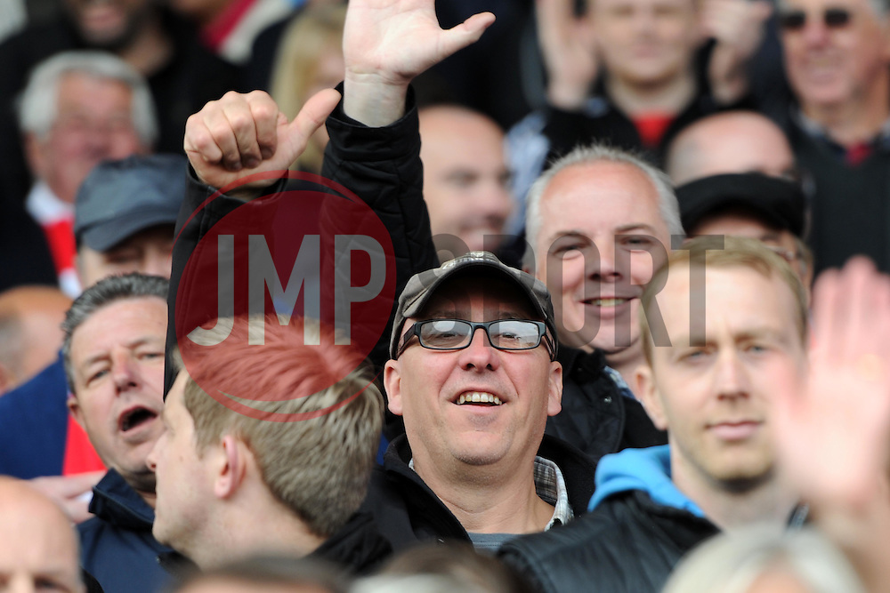 Thumbs up from supporters as Bristol City players parade at Ashton Gate - Photo mandatory by-line: Paul Knight/JMP - Mobile: 07966 386802 - 03/05/2015 - SPORT - Football - Bristol - Ashton Gate Stadium - Bristol City v Walsall - Sky Bet League One