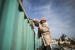May 2, 2019 - Tripoli, Libya - A fighter from forces of the UN-backed Libyan government prepares for the attacks during clashes with the east-based army in Salahuddin, Tripoli, Libya. A total of 376 people have been killed and 1,822 others injured in the fighting between the UN-backed Libyan government and the east-based army in and around the capital Tripoli so far, the World Health Organization (WHO) said Wednesday. (Credit Image: © Amru Salahuddien/Xinhua via ZUMA Wire)
