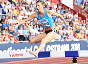 Ophelie Claude-Boxberger (FRA) hurdles a barrier in the women's steeplechase during the IAAF Continental Cup 2018 at Mestky Stadion in Ostrava, Czech Republic, Sunday, Sept. 9, 2018. (Jiro Mochizuki/Image of Sport)