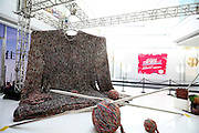 SHENYANG, CHINA - NOVEMBER 12: (CHINA OUT) <br /> <br /> A large sweater, 8 meters in height and 4 meters in width, by Chinese artist Ma Yunhui is on display at a shopping mall on November 12, 2015 in Shenyang, Liaoning Province of China. <br /> ©Exclusivepix Media