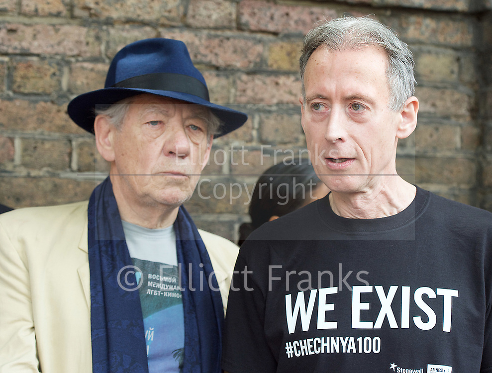 Sir Ian McKellen and<br /> Peter Tatchell <br /> <br /> Amnesty International UK<br /> CHECHNYA: STOP ABDUCTING AND KILLING GAY MEN<br /> protest at the Russian Embassy, London, Great Britain <br /> 2nd June 2017 <br /> <br /> Over a hundred men suspected of being gay have been abducted, tortured and some even killed in the southern Russian republic of Chechnya.<br /> <br /> The Chechen government won&rsquo;t admit that gay men even exist in Chechnya, let alone that they ordered what the police call 'preventive mopping up' of people they deem undesirable. We urgently need your help to call out the Chechen government on the persecution of people who are, as they put it, of 'non-traditional orientation', and urge immediate action to ensure their safety.<br /> <br /> Photograph by Elliott Franks <br /> Image licensed to Elliott Franks Photography Services