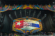 HAVANA, CUBA - MARCH 25, 2016: The stage is set as fans eagerly wait for a free performance by The Rolling Stones at Ciudad Deportiva on March 25, 2016 in Havana, Cuba. The Rolling Stones performance is the first by a major international rock band in Cuba, coming days after a historic visit by President Barack Obama of the United States, and a game between the Tampa Bay Rays and the Cuban National Team at Estadio Latinoamericano. The Cuban government banned rock music on Cuban state TV and radio following the Cuban the revolution, and nearly a half-million people are in attendance to be part of the historic event. (Photo by Jean Fruth)