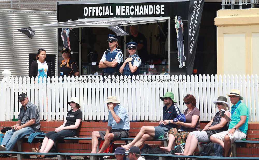 Police keep an eye of play on Day 3 of the 2nd test match.  New Zealand Black Caps v Pakistan, Test Match Cricket. Basin Reserve, Wellington, New Zealand. Monday 17 January 2011. Photo: Andrew Cornaga/photosport.co.nz