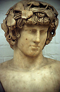 Antinous (d122) Bithynian youth, favourite and companion of the Ancient Roman emperor Hadrian. Drowned in the Nile.  Hadrian founded city of Antinopolis in his memory. Portrait bust.