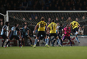Phil Edwards scores during the Sky Bet League 2 match between Wycombe Wanderers and Burton Albion at Adams Park, High Wycombe, England on 17 November 2014.