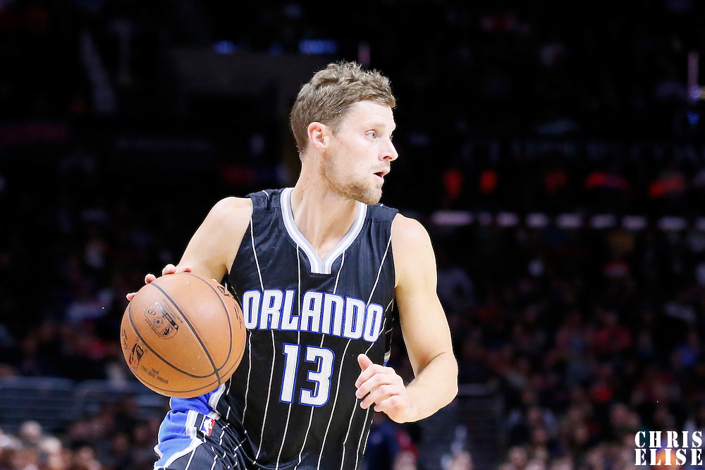 03 December 2014: Orlando Magic guard Luke Ridnour (13) dribbles during the Los Angeles Clippers 114-86 victory over the Orlando Magic, at the Staples Center, Los Angeles, California, USA.