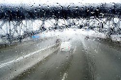 Visibility is reduced by severe weather conditions, including sleet to snarl traffic and cause accidents on the Interstate 95 highway between Trenton, NJ  and Newark, NJ, on March 2, 2019.