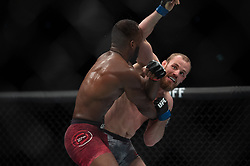 March 16, 2019 - London, United Kingdom - Leon Edwards beats Gunnar Nelson by decision during UFC Fight Night 147 at the London O2 Arena, Greenwich on Saturday 16th March 2019. (Credit Image: © Mi News/NurPhoto via ZUMA Press)