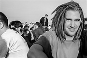 Dreadlocked protestor smiling, Reclaim the Streets, Shepherd's Bush, London, July 1996