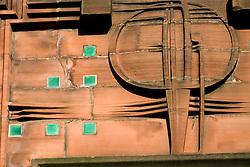 Detail of art nouveau on Scotland street School buy Charles Rennie Mackintosh in Glasgow Scotland